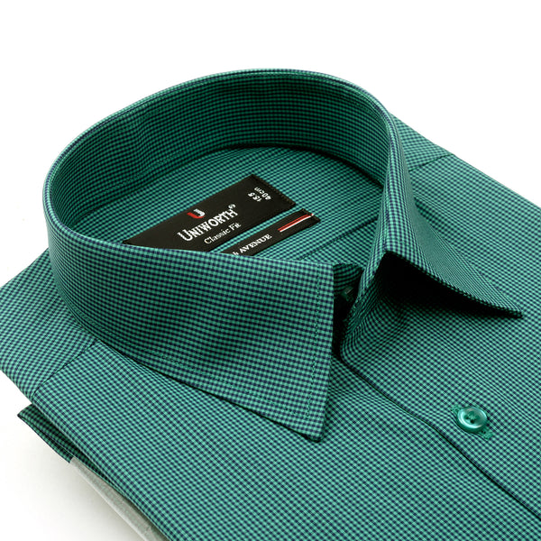 7th Avenue Green And Black Check Classic Fit Dress Shirt