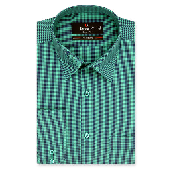 7th Avenue Green And Black Check Classic Fit Dress Shirt-14.5
