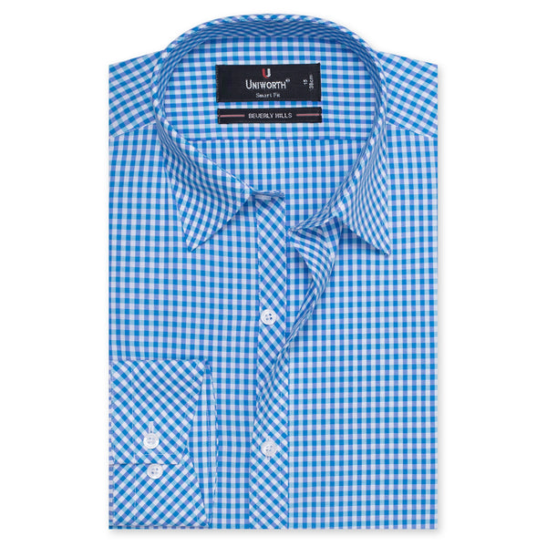 Beverly Hills Blue And White Check Smart Fit Formal Dress Shirt-14½