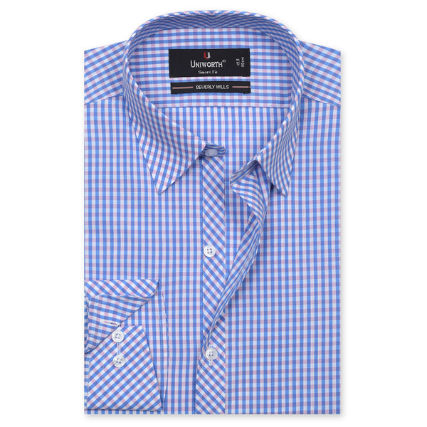 Beverly Hills White And Blue Check Smart Fit Formal Dress Shirt FS784-15