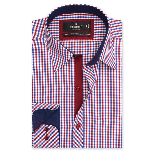 Beverly Hills Red And White Check Classic Fit Men's Dress Shirt-14.5