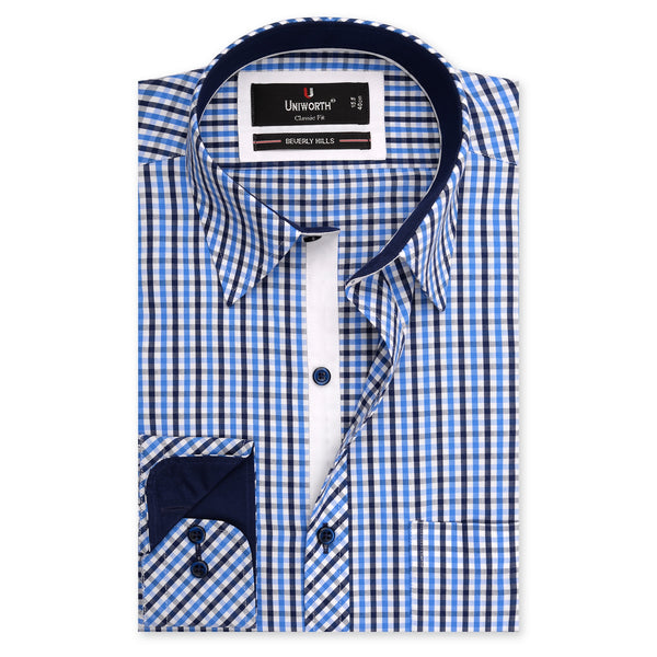 Beverly Hills Blue And White Check Classic Fit Men's Dress Shirt-14.5