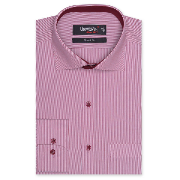 Crimson And White Narrow Stripe Smart Fit Designer Shirt-14½