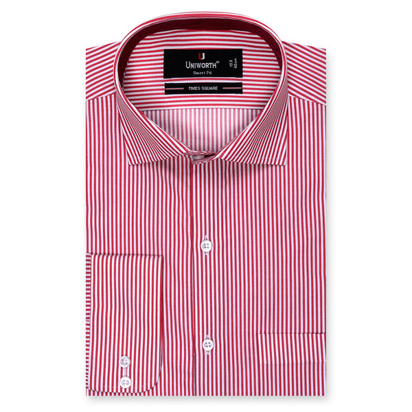 White And Red Stripe Smart Fit Designer Shirt -15