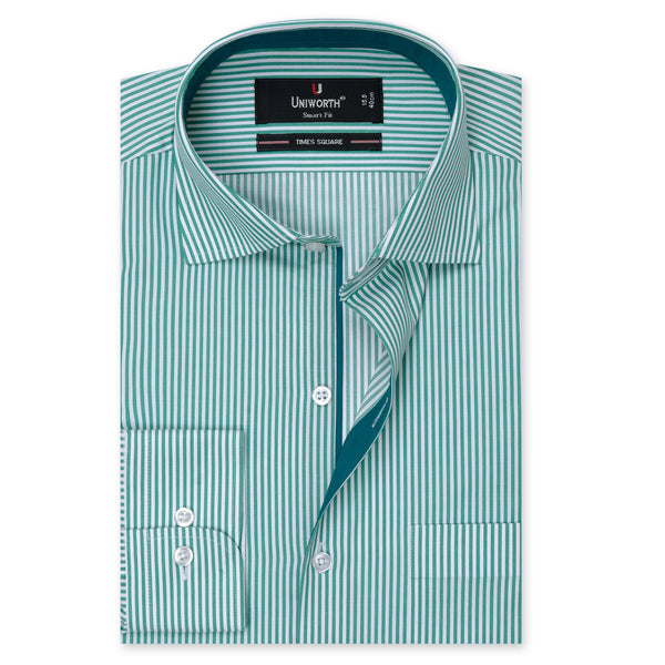 Times Square Green And White Stripe Smart Fit Dress Shirt-14½