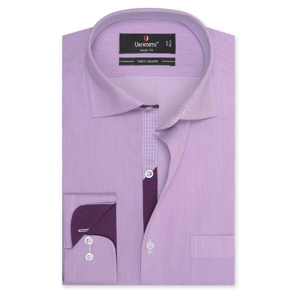 Times Square Dark Mauve And White Stripe Smart Fit Men's Dress Shirt-14½