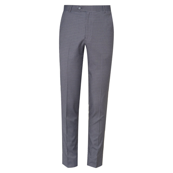 Grey And Black Check Regular Fit Formal Trouser-30