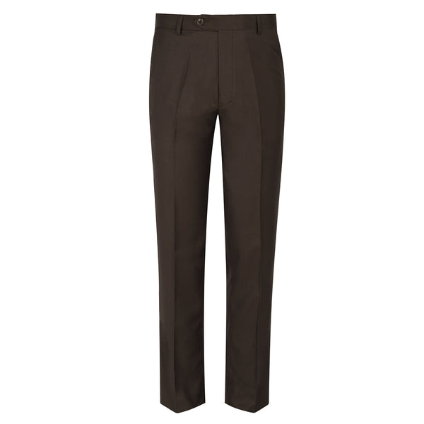 Brown Plain Classic Fit Formal Trouser-38