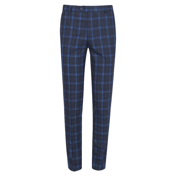 Blue Check On Navy Blue Smart Fit Formal Trouser FT-454-34