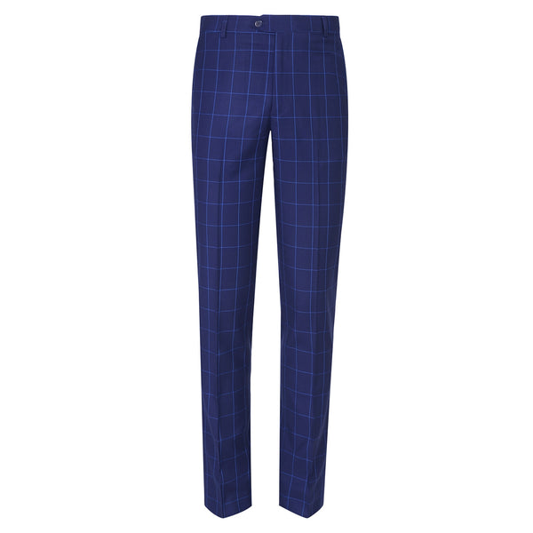 Blue Check Smart Fit Formal Trouser FT460-36