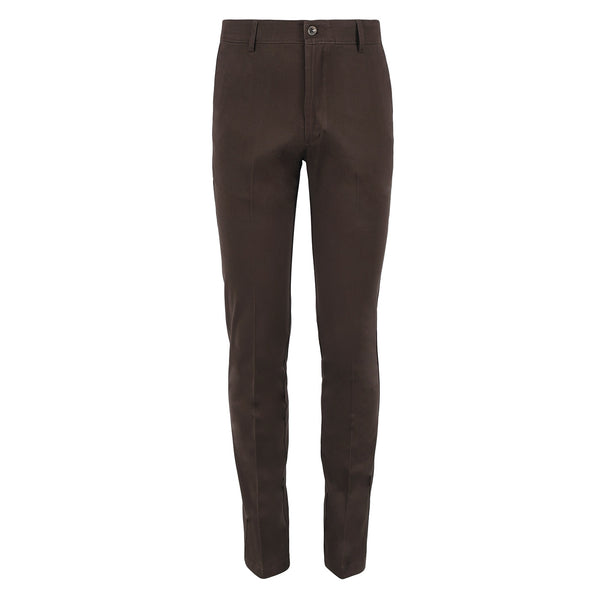 Chocolate Brown Smart  Fit Cotton Trouser-32