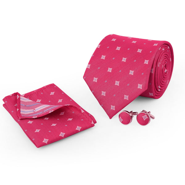 Multi Design On Pink Regular Tie And Cufflink Set
