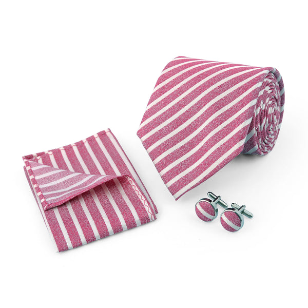 Pink And White Stripe Regular Tie And Cufflink Set