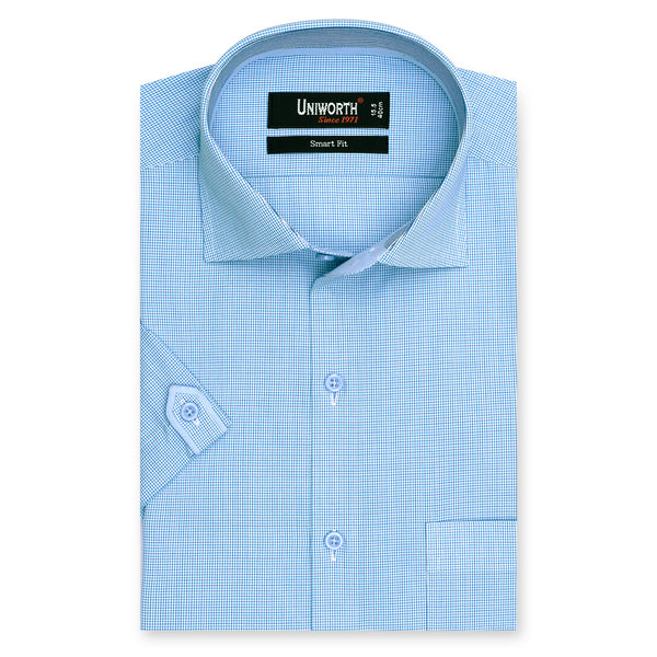 Sky Blue Check Half Sleeve Smart Fit Dress Shirt-14.5