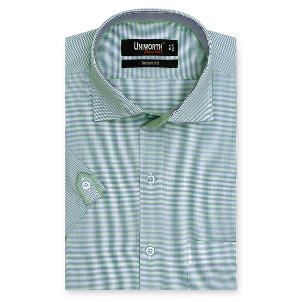 Green Check Half Sleeve Smart Fit Dress Shirt-14.5