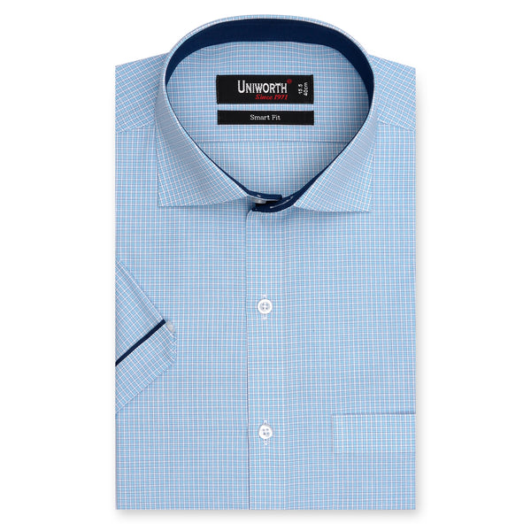 Blue And White Check Half Sleeve Smart Fit Dress Shirt-14.5