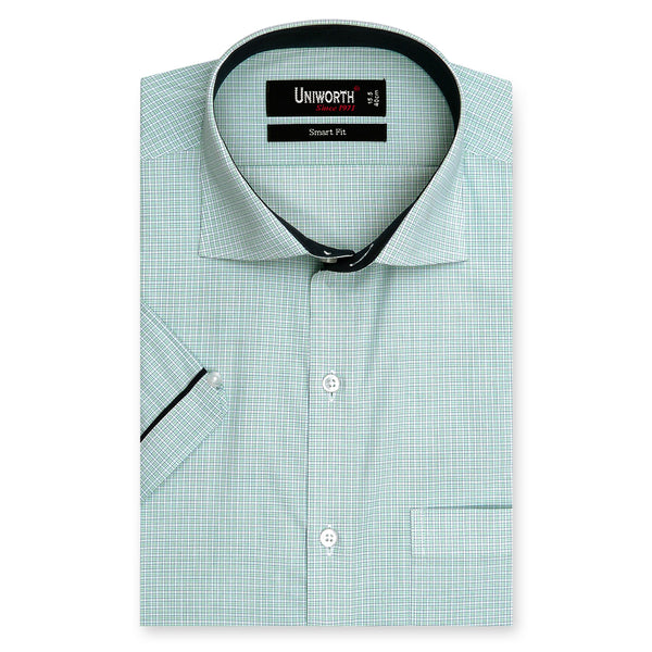Multi Check Half Sleeve Smart Fit Dress Shirt-14.5