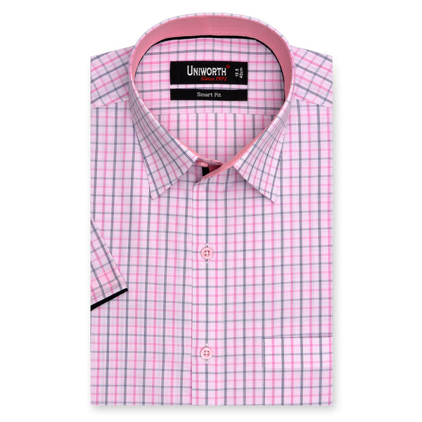 Light Pink Check Half Sleeve Smart Fit Designer Shirt-14½