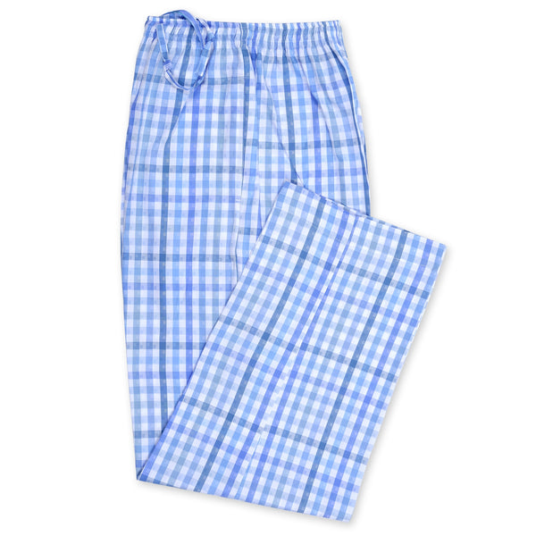 Sky Blue And White Check Relaxing Pajama-L