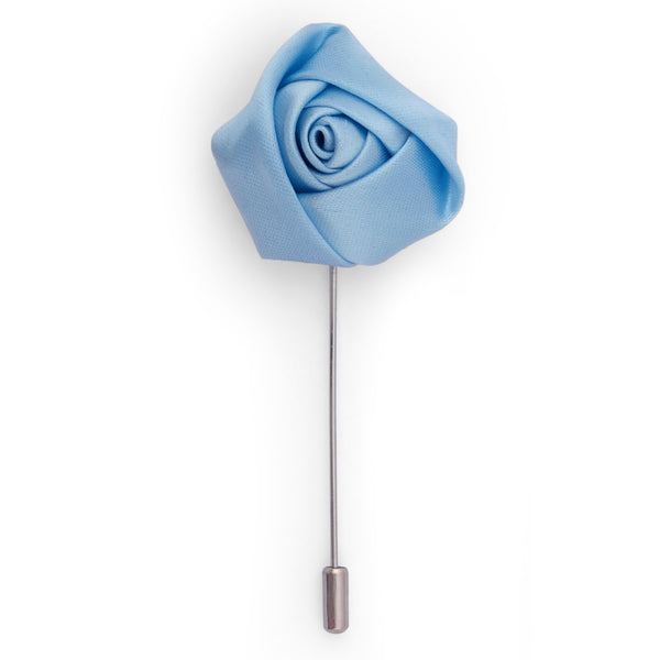 Sky Blue Plain Flower Lapel Pin
