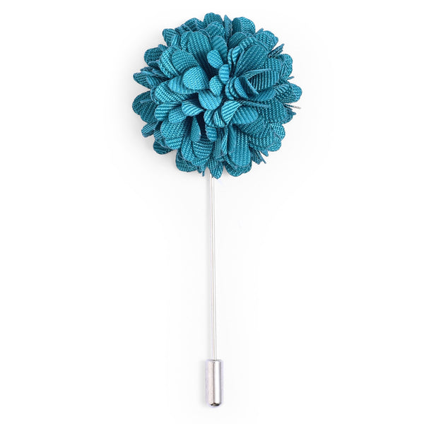 Teal Blue Flower Lapel Pin
