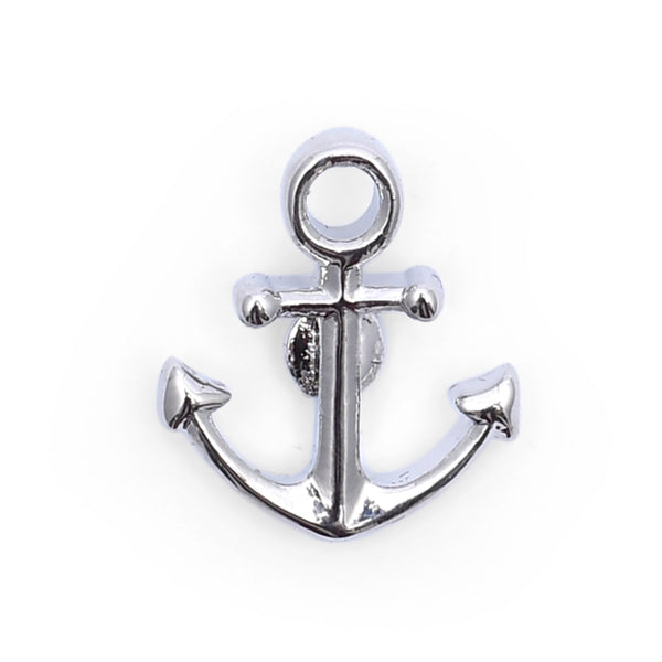 Silver Boat Anchor Lapel Pin Tie Tack