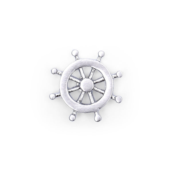 Ship Steering Wheel Silver Lapel Pin