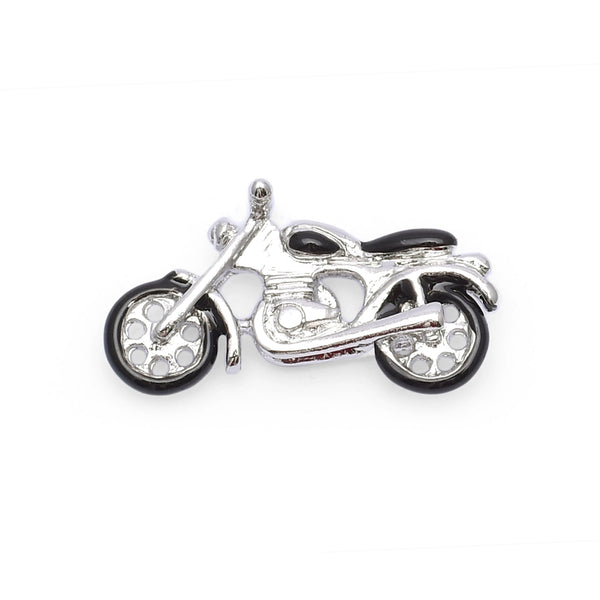 Silver Motorcycle Lapel Pin