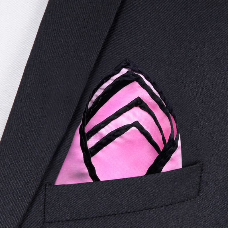 Pink And Black Pocket Square