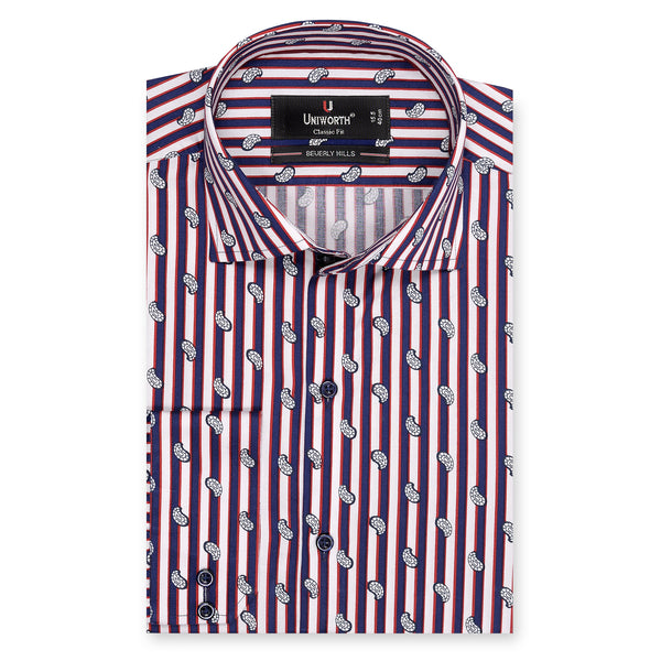 Beverly Hills Multi Striped With Small Paisley Designer Shirt-15
