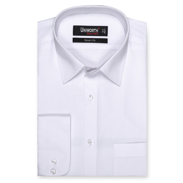 White Plain Smart Fit Dress Shirt-14.5