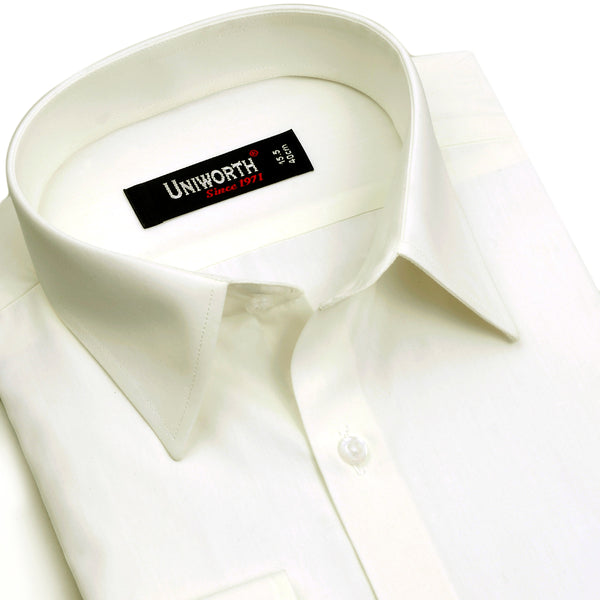 Off White Plain Regular Fit Dress Shirt