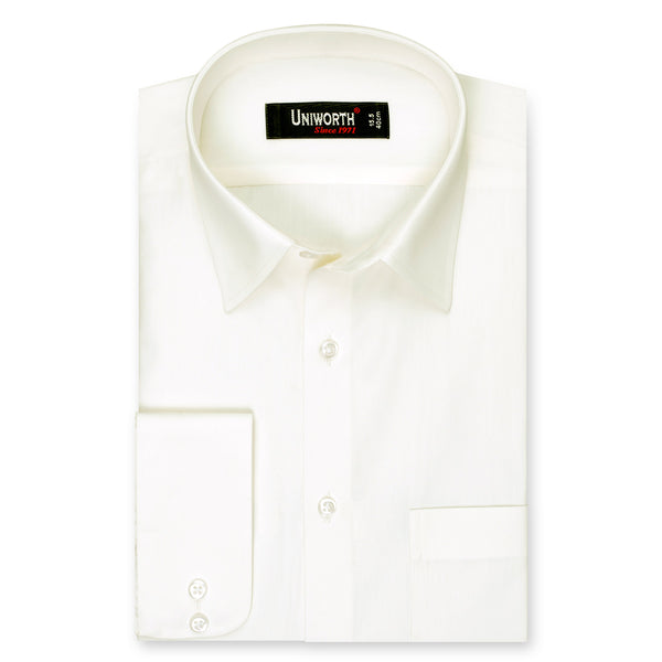 Off White Plain Regular Fit Dress Shirt-15.5