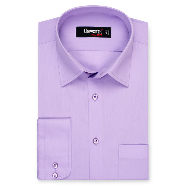 Mauve Plain Classic Fit Dress Shirt