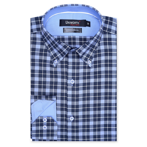 Sky Blue And Navy Blue Check Business Casual Full Sleeve Button Down Shirt-L