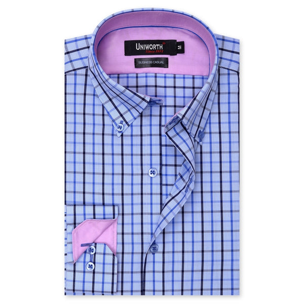 White And Blue Check Business Casual Full Sleeve Button Down Shirt SC2140-L