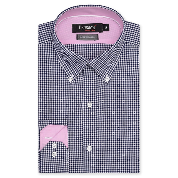 White And Navy Blue Check Business Casual Full Sleeve Button Down Shirt SC2147-M