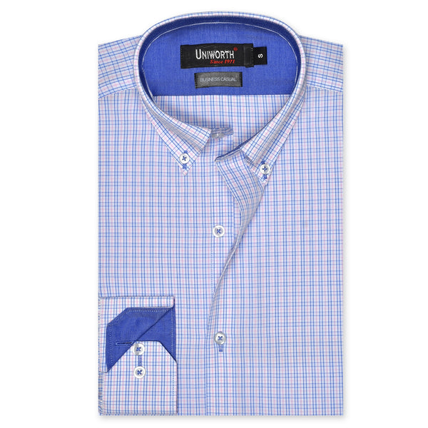 White And Sky Blue Check Business Casual Full Sleeve Button Down Designer Shirt SC2172-L