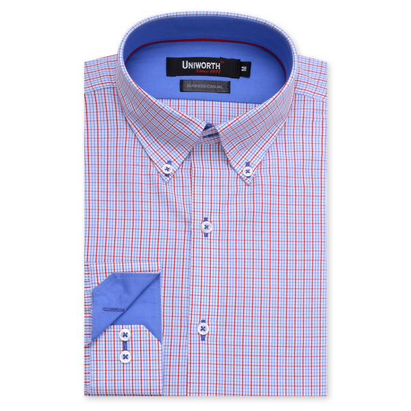 Sky Blue And Red Check Business Casual Full Sleeve Button Down Shirt SC2173-M