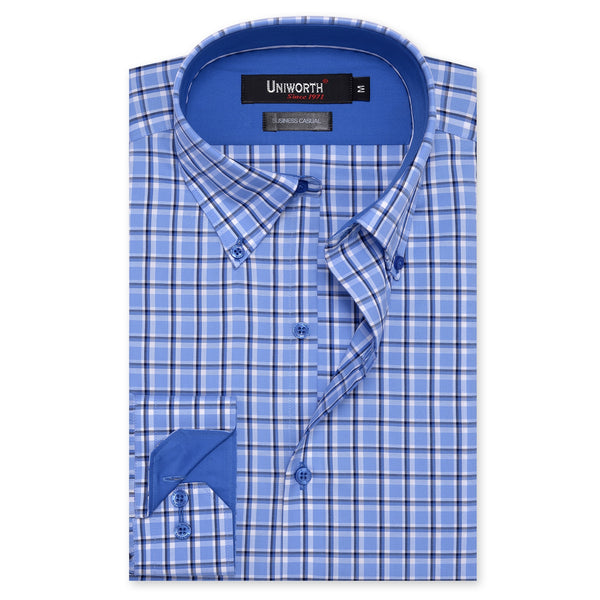 White And Blue Check Business Casual Full Sleeve Button Down Shirt SC2273-S