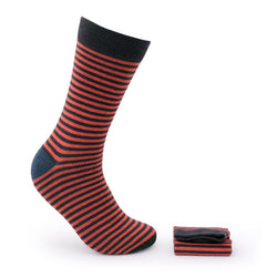 Walkees Navy Blue And Red Stripe Combed Cotton Socks