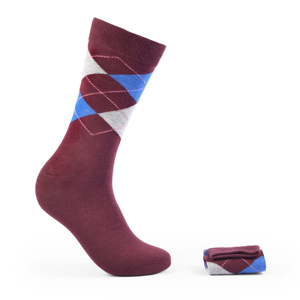 Walkees Multi Argyle Crimson Combed Cotton Socks
