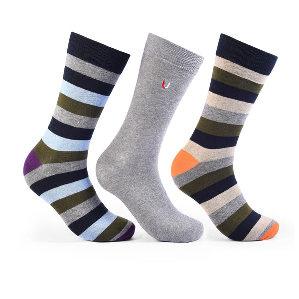 Multi Colored Striped Pack Of 3 Combed Cotton Socks