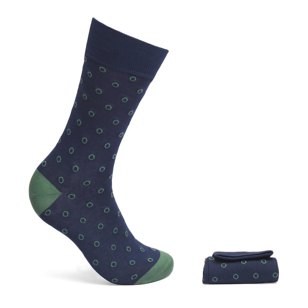 Walkees Green Circle On Navy Blue Mercerized Cotton Socks