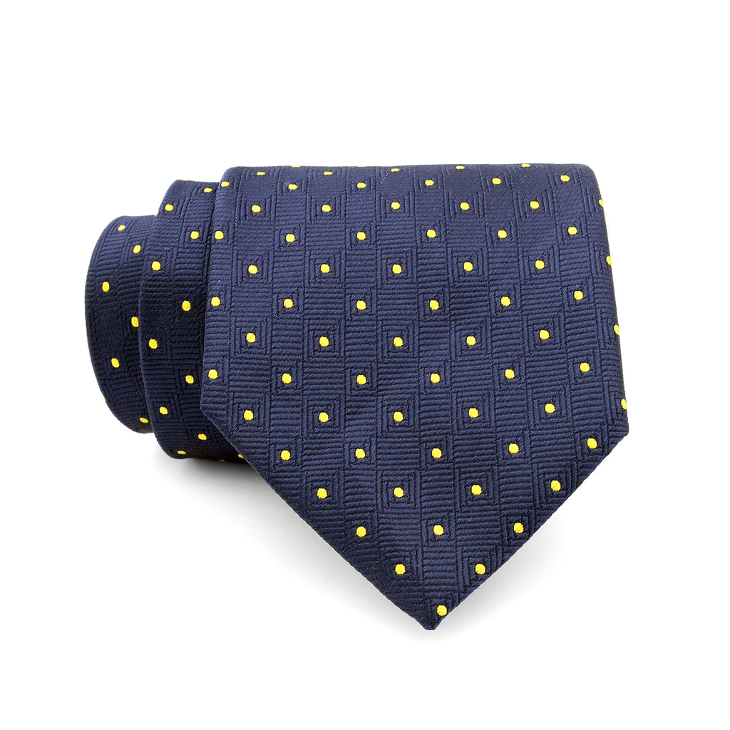 Navy Blue And Yellow Polka Dotted Regular Tie
