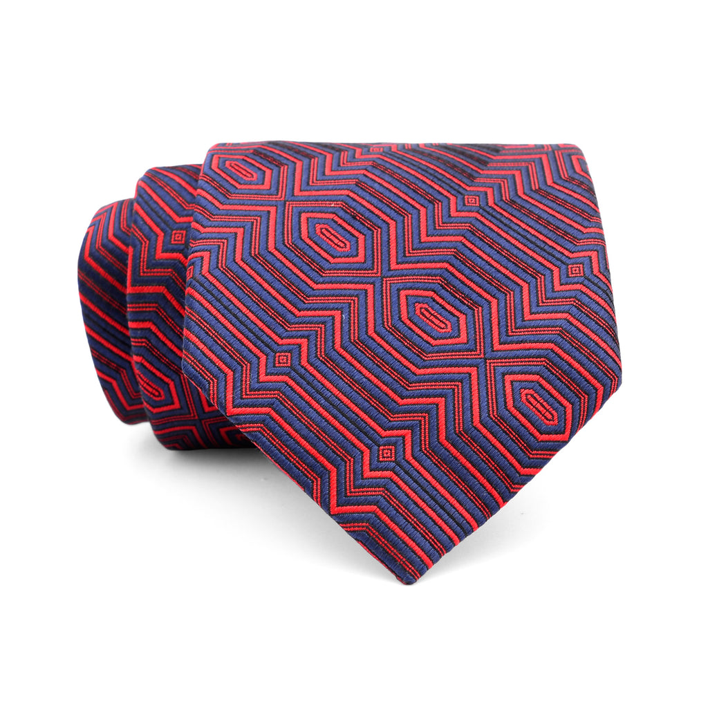 Navy Blue And Red Pattern Regular Tie