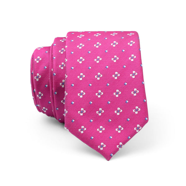 White Floral On Pink Slim Tie