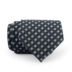 Navy Blue And White Check Regular Tie