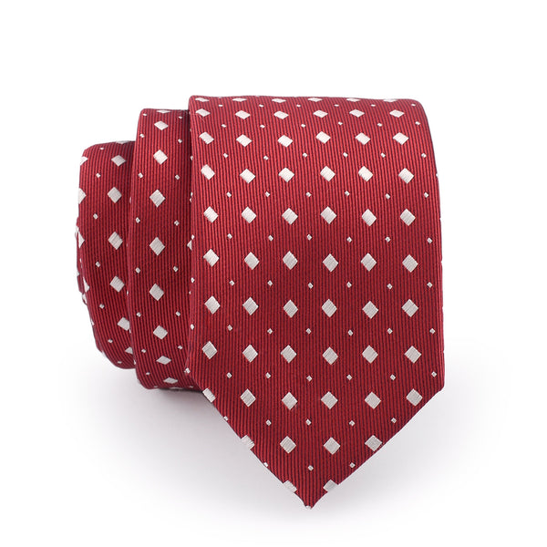 White Square On Crimson Slim Tie