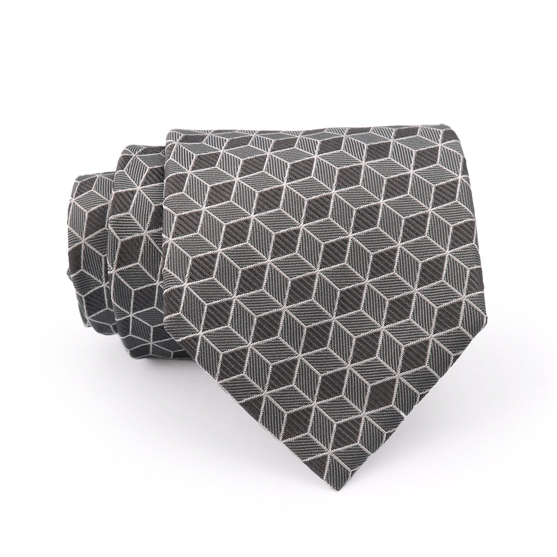 Grey Check Regular Tie